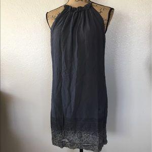 VINCE grey sleeveless silk dress